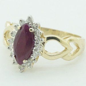10k Yellow Gold Diamond Halo Ruby Cocktail Ring